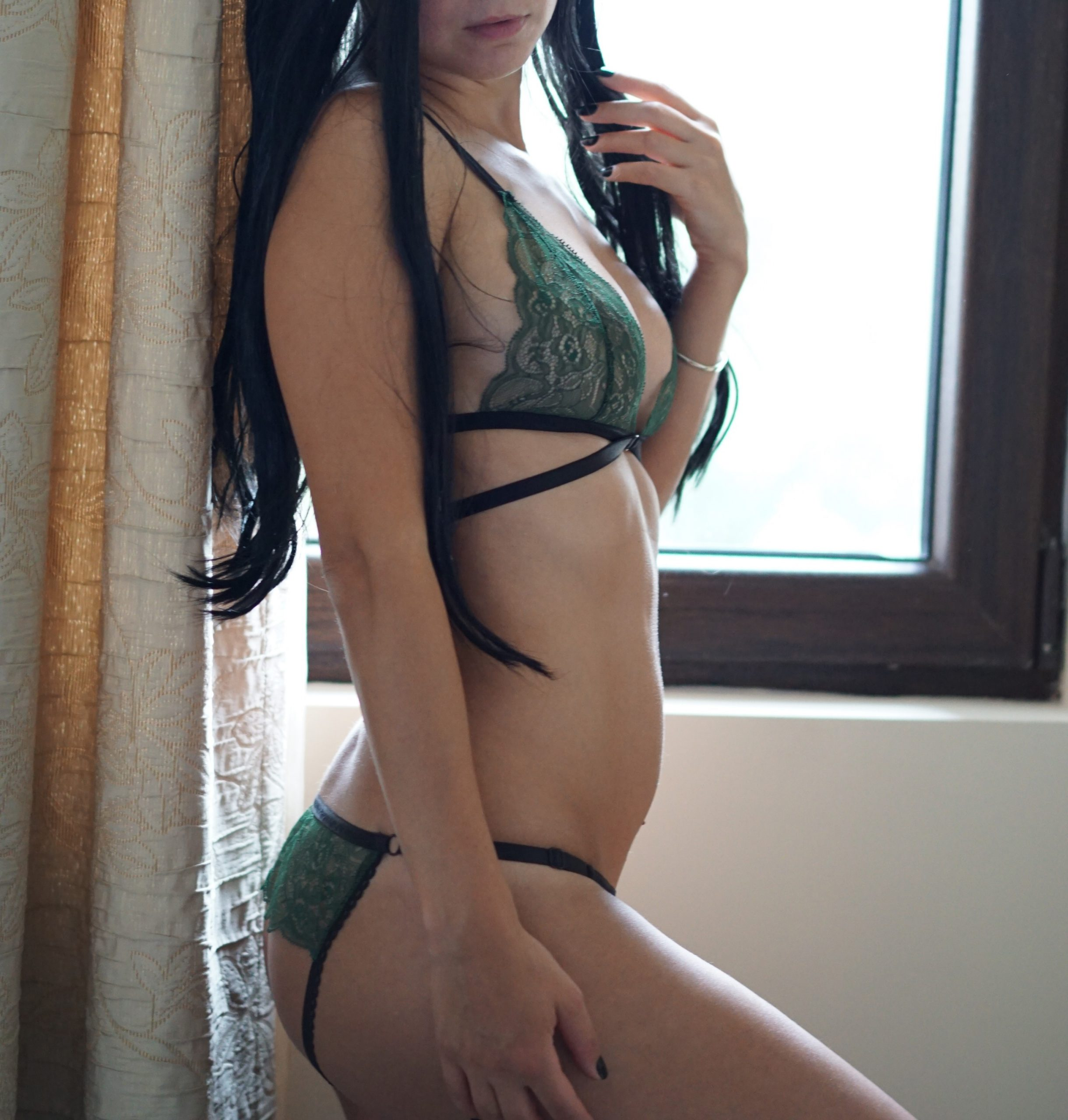 BlackWings Lingerie - Deep Green Strappy Ouvert Panties; Crotchless; Bottomless; Sexy Underwear; Green Lingerie Set