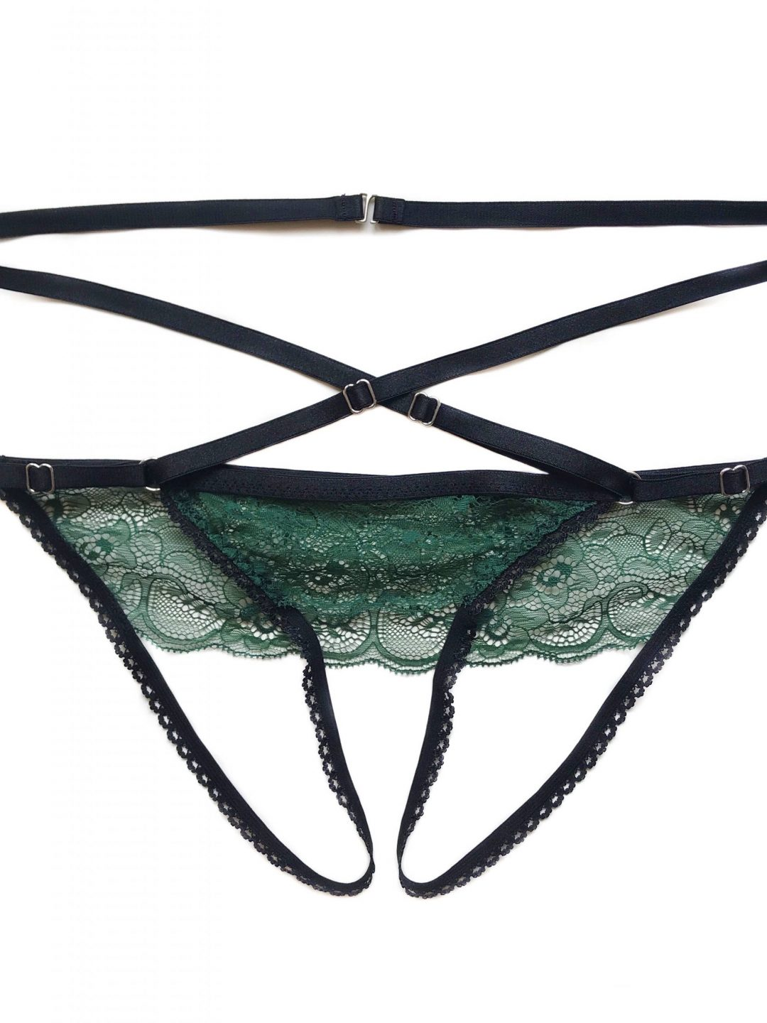 Deep Green Strappy Ouvert Panties; Crotchless Panties ; Bottomless Panties; Sexy Underwear