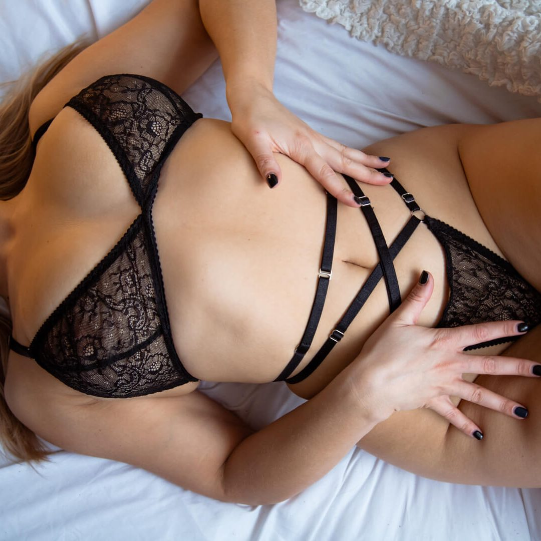 BlackWings Lingerie - Black Lace Strappy Bralette and Thong
