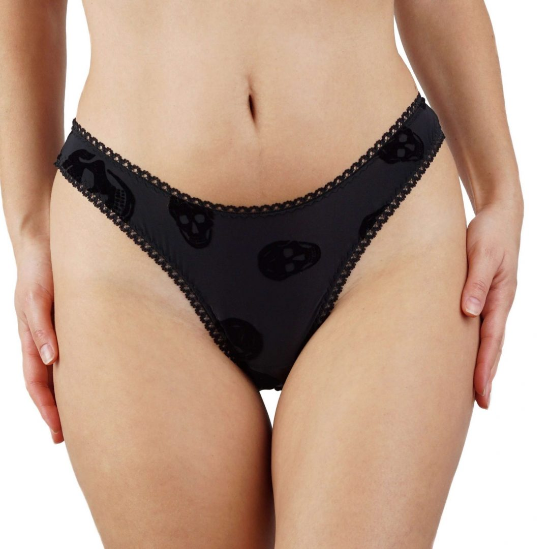 BlackWings Lingerie-Skulls High Cut Panties-Front