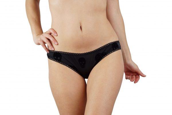 BlackWings Lingerie-Skulls Low Waist Panties-Front