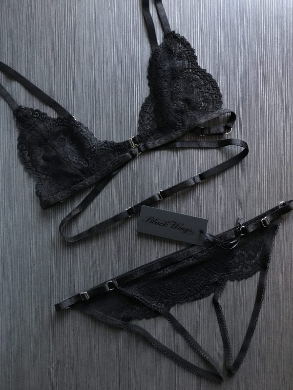 BlackWings Lingerie_Black bralette and ouvert panties set