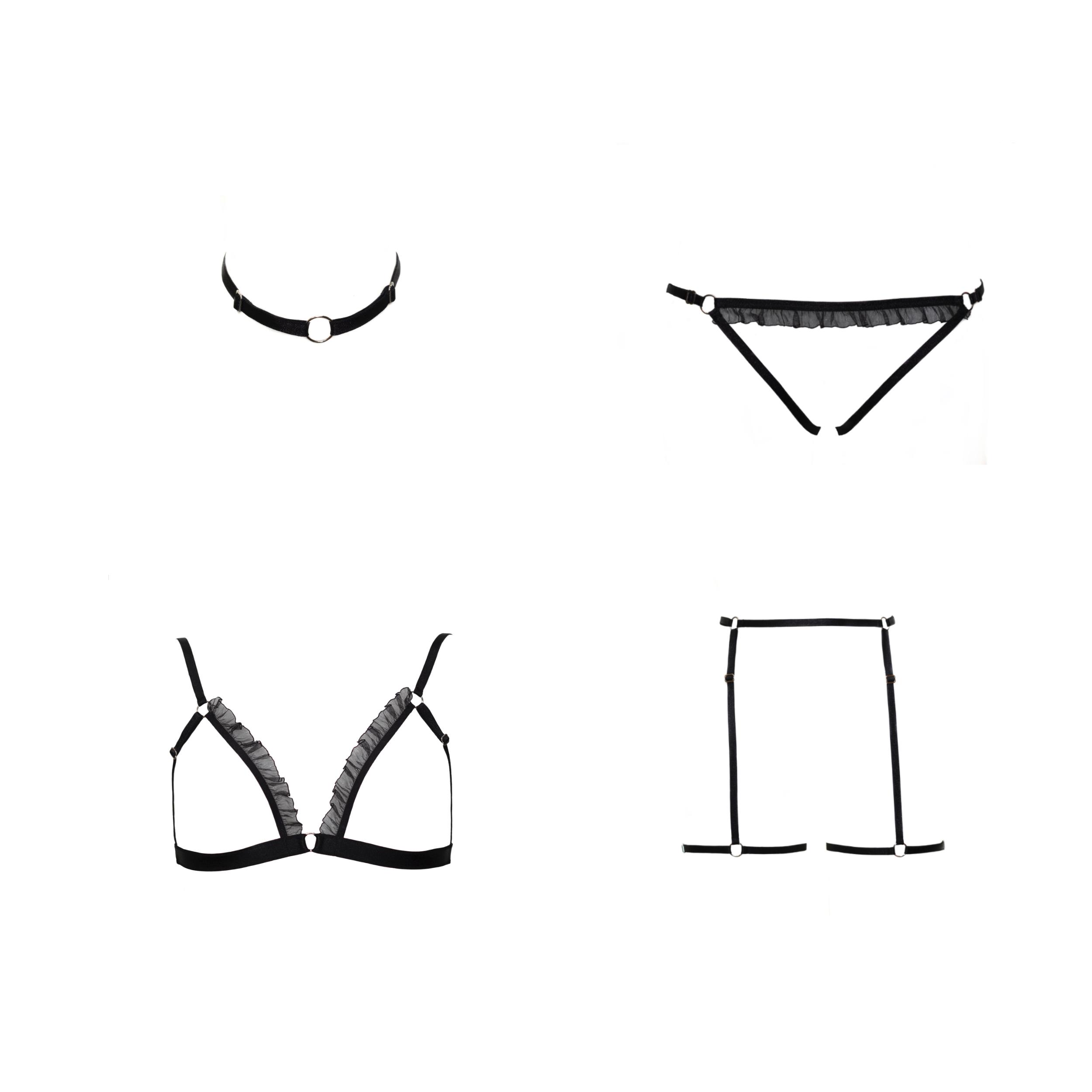 BlackWings Lingerie - Abby Set - Open bralette, harnessBlackWings Lingerie - Abby Set - Open bralette, harness