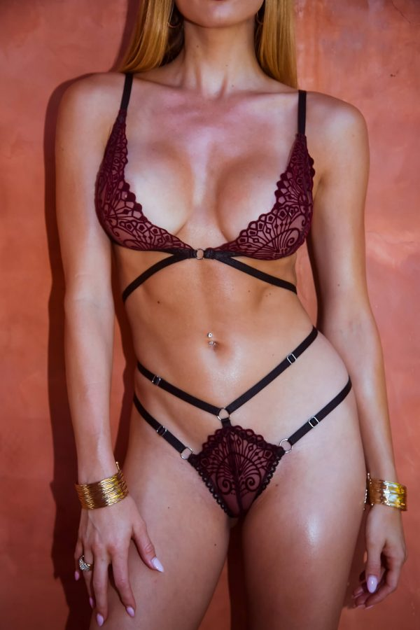 Burgundy lingerie set with strappy bralette and thong - BlackWings Lingerie